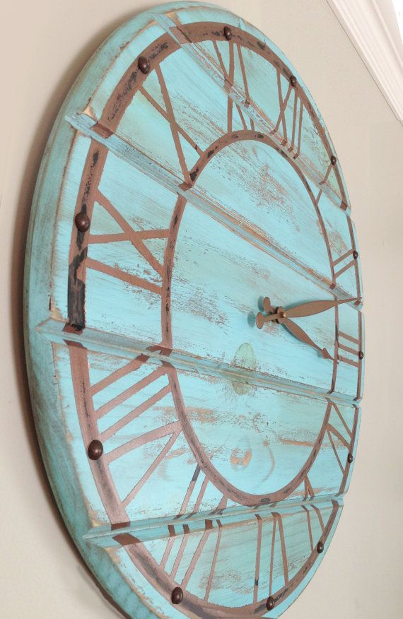 Large Wooden Clock Part - 37: Shabby Chic Blue Wooden Wall Clock With Faux By DownrightCreative, $48.00