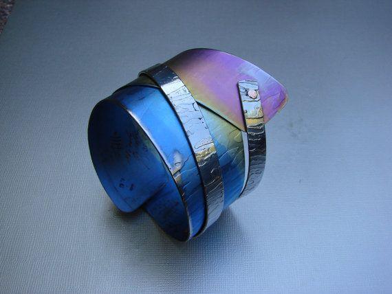NEW Blue Moonlight Anodized Titanium Art Bracelet one of a kind by Gomolka metalsmith studio Canada BC