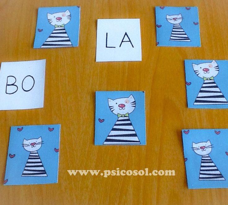 Oi! Este jogo para alfabetização é simples e muito semelhante com o jogo de memória, mas tem alguns detalhes diferentes e interessantes. Veja a seguir...Você vai precisar:- Várias cartas com sílaba...