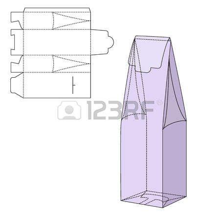 packaging lines: Ilustración del vector de regalo artesanal caja de diseño, Web site, fondo, bandera. Plegable paquete Plantilla botella de vid. Dobla alhogol pack con línea de troquel para su marca en ella