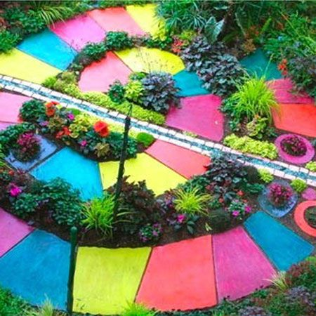 colorful garden path cool idea for kids garden ideasgardeningkidsyard - Garden Art Ideas For Kids