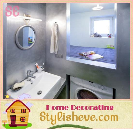 tiny apartments: Modern Interiors Design, Small Apartment, Living Spaces, Apartment Design, Wash Machine, Small Spaces, Apartments, Bathroom Decor, Attic Bathroom