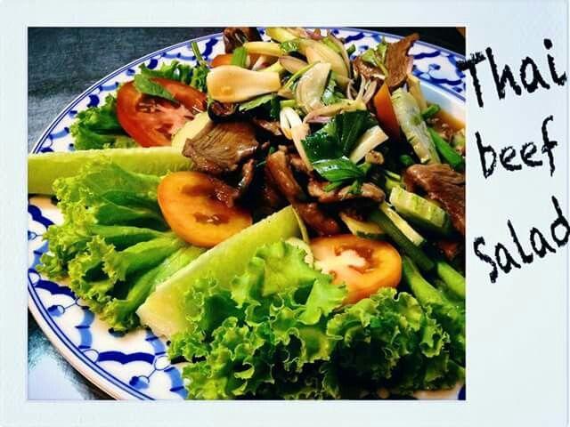 Thai beef salad. Bamboo beach bar. Koh Samui