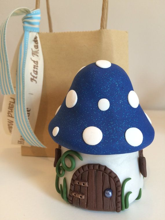 Tooth Fairy Mushroom Tooth Pot Blue with a by FairyFantasticClay