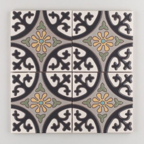 The Classic Cuerda Seca Handpainted Collection: Lugo in the Neutral Motif. Conjures a leisurely stroll around the grand piazza, an ageless pattern, Lugo never disappoints.  Available in a 6x6 size. $24/piece.