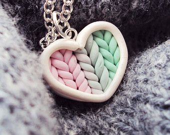 Ombre Teal Purple Knitted Heart Necklace Polymer от MyMiniMunchies