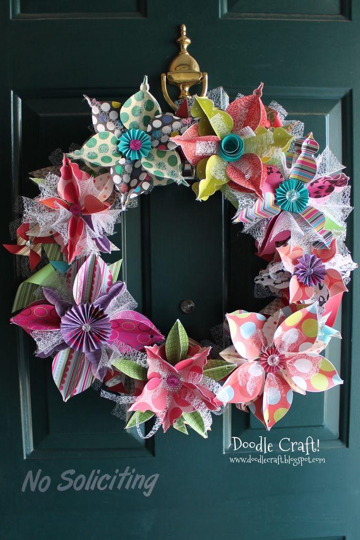 Diy paper flower wreath ruffled - Shabby Paper Wreath Tutorial Paper Flower Wreathspaper Flowersdiy