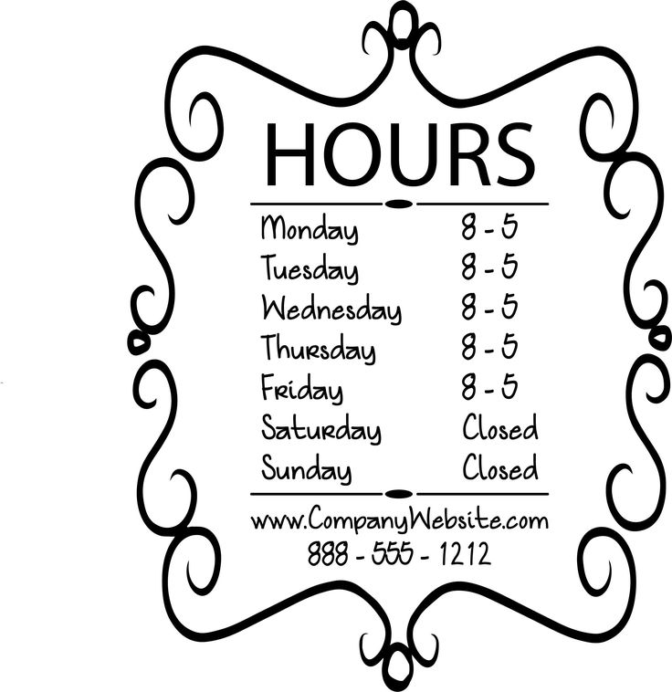 STORE HOURS NAME CUSTOM WINDOW DECAL COMPANY BUSINESS SHOP Storefront Vinyl Door Sign Lawyer, Medical Office, Florist, Sandwich, Gym, Grocery - STYLE 001