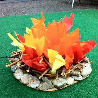 camping theme classroom | Classroom fire for camping theme | We can pretend the bedroom is a camping area- so cute.