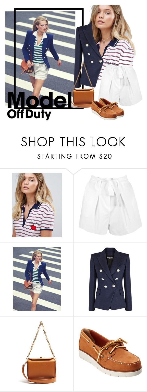"""model off duty"" by sahrish-hossain ❤ liked on Polyvore featuring Hilfiger Denim, Boohoo, Balmain, Alexander McQueen, Sperry and casualstyle"