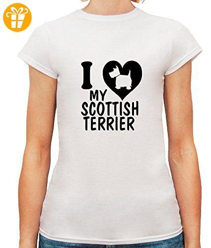 Damen T-Shirt mit I Love My Scottish Terrier Dog Breed Illustration print. Rundhalsausschnitt. Small, Weiß (*Partner-Link)