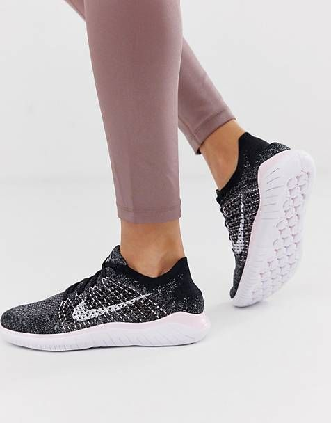 d87daa7f16c21 Nike Running Free Run Flyknit Trainers In Black