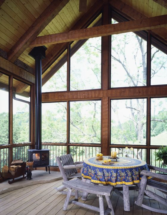 33 best porch images on pinterest arquitetura cottage for Wood burning stove for screened porch