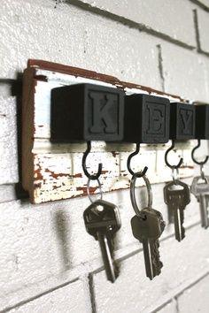 Something to do with those old Alphabet blocks. Black Block Key Rack - Don't paint blocks black!!!