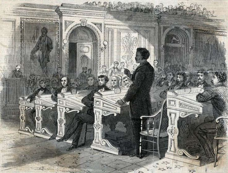 February 27,   1869: FIRST AFRICAN AMERICAN TO ADDRESS THE CHAMBER  -    John Menard becomes first black to make a speech in the US Congress