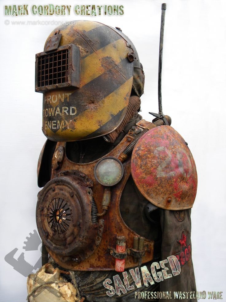 Post apocalyptic armour - real steel breastplate and pauldrons, plastic visor and helmet. Enquiries and commissions always welcome @ www.markcordory.com
