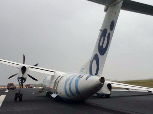 Amsterdam-Schiphol : rupture d'un train d'atterrissage, un Dash 8 finit sur le flanc (vidéo)