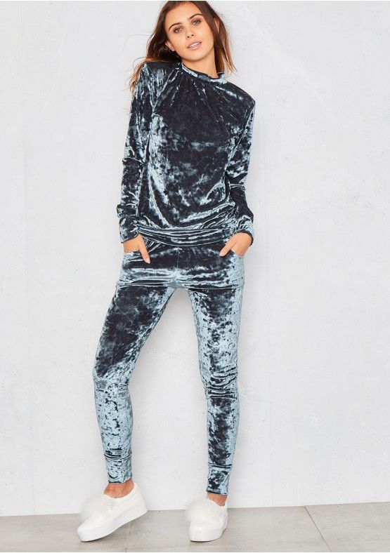 Viviana Blue Crushed Velvet Lounge Tracksuit Missy Empire