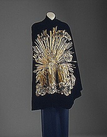 Elsa Schiaparelli embroidered Cloak Stole 1930's.  #stole #cloak #cape #stolecape See blogpost at http://www.whitestole.com/1/post/2014/03/inspiring-the-ages-couture-ballgown-creations-by-elsa-schiaparelli-we-love.html See entire vintage and silk collection at www.whitestole.com