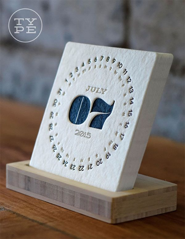 TYPE: 2015 Letterpress Desk Calendar + Free Shipping