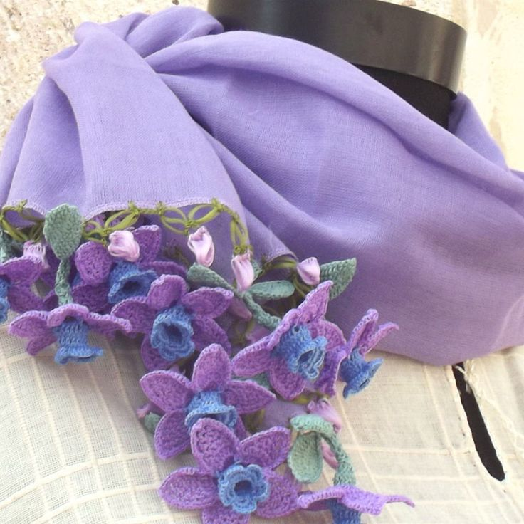 Turkish OYA Lace - Flower stole/Lavender - Scarf Shawl For Her Gift For Women Winter Scarf Women Fashion Accessories by DaisyCappadocia on Etsy