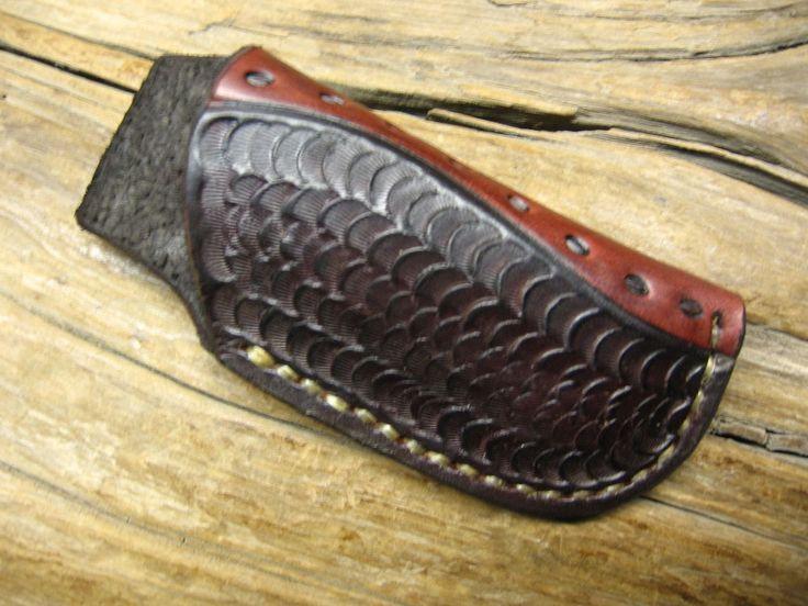 LEATHER KNIFE SHEATH FITS BUCK 112 & SIMILAR SIZE FOLDING KNIVES