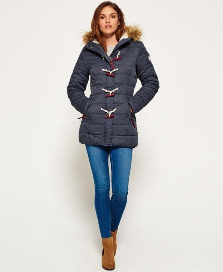 Superdry Tall Marl Toggle Puffle Jacket Blue