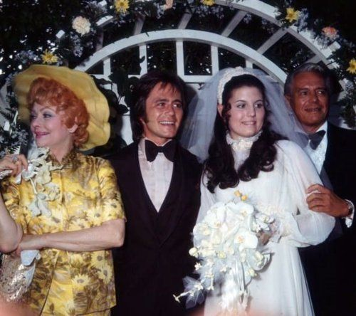 Lucille Ball and Desi Arnaz at the 1971 wedding of their daughter Lucie Arnaz to Phil Vandervort.  They divorced in 1977.  She has been married to actor Laurence Luckinbill since 1980.