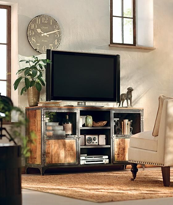 manchester tv stand industrial reclaimed wood furniture
