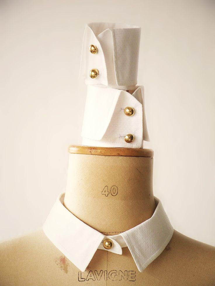 """Col et poignets détachables à ajouter à une petite robe - un tuto proposé par Fabienne Pera (créatrice des patrons """"Les Robes Volages"""") dans le n° 11 -2015 de passion créative couture  - detachable cuffs and collar ! so classy"""
