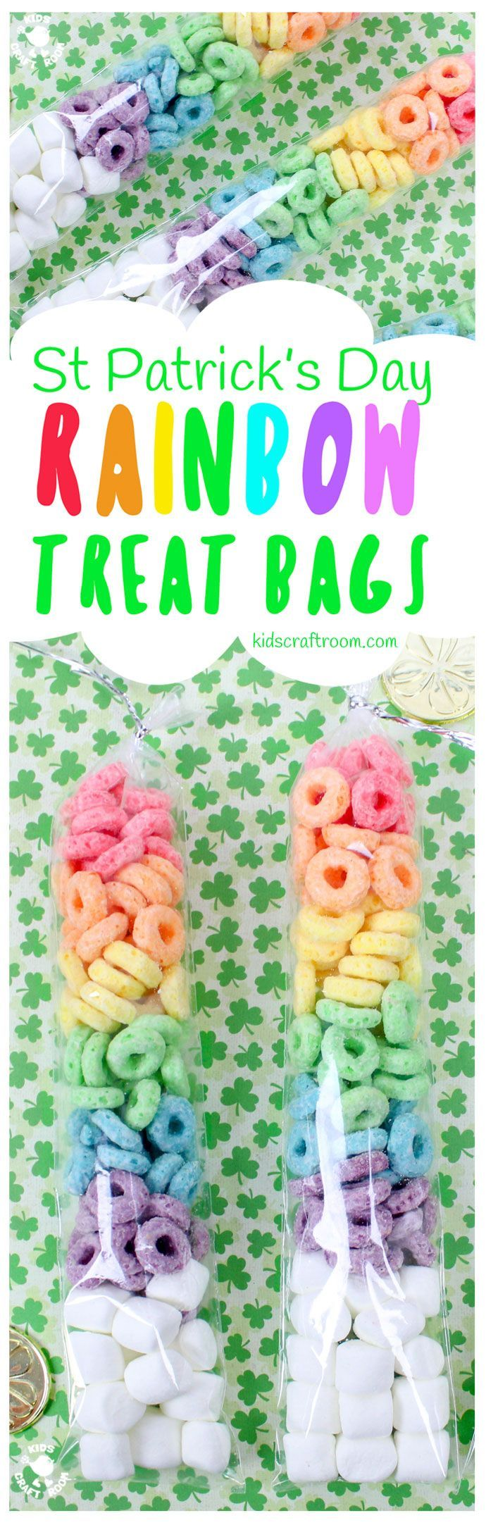ST PATRICK'S DAY RAINBOW TREAT BAGS - need a quick and easy rainbow activity for the kids? These St Patrick's Day Rainbow Treat Bags are simple and fun to make and a lovely thrifty gift idea to share with friends too. Great if you need St Patrick's Day treats for a whole class and don't want to break the bank! #StPatricksDay #StPaddys #Rainbow #StPatricksDayCrafts #kidscrafts #rainbowcrafts #cookingwithkids #treats via @KidsCraftRoom