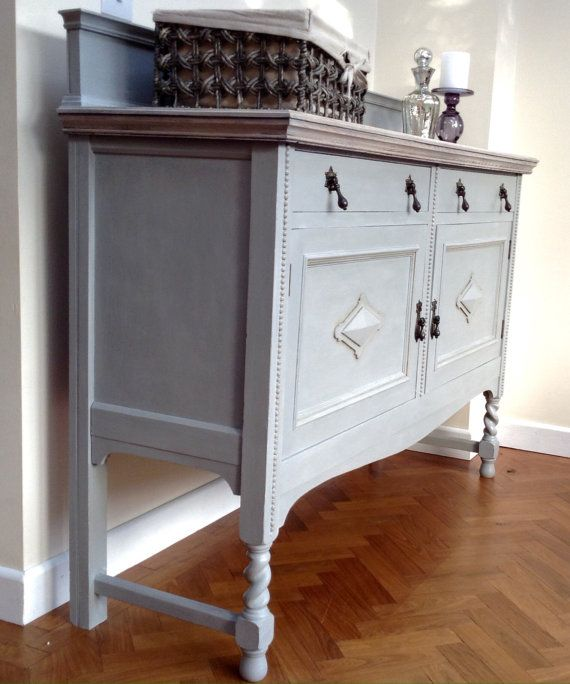 EDWARDIAN OAK DRESSER Sideboard in Annie Sloan Paris Grey. Example of Customer Commission. Similar can be sourced.