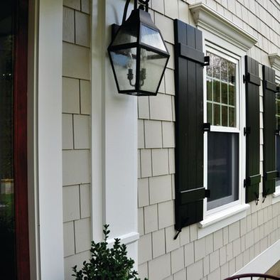 Hardie color - COBBLESTONE w/ black shutters and lantern
