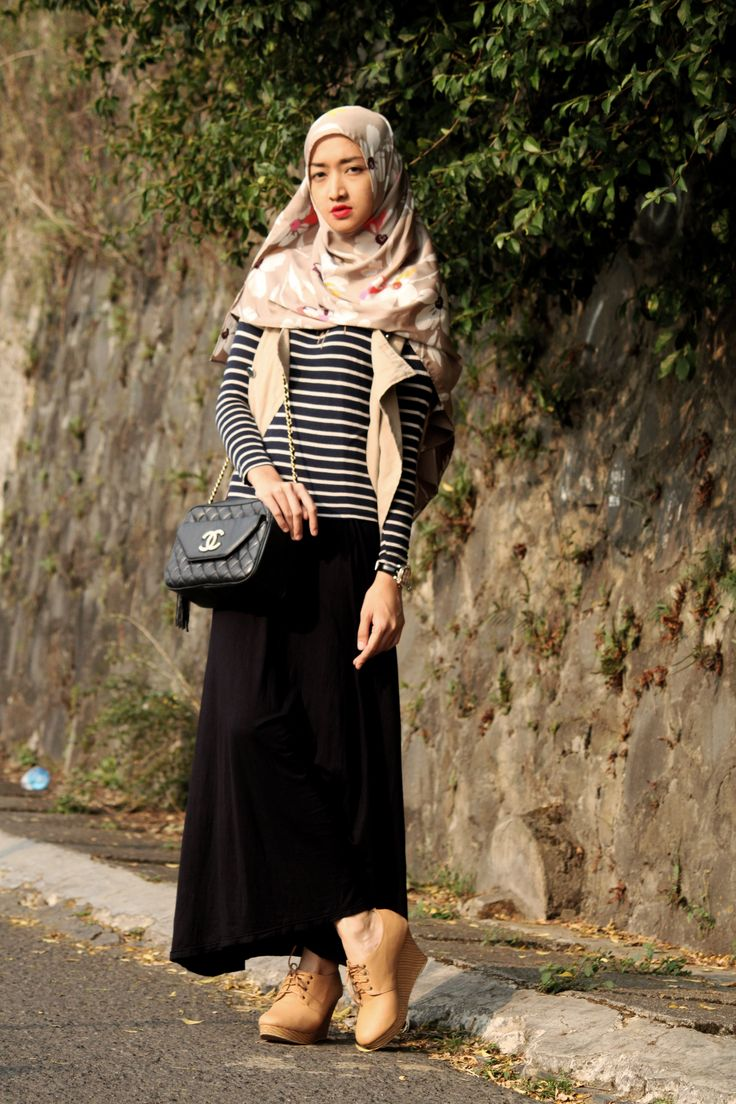 floral shawl, stripes top, nude vest, basic dress, wedges shoes, sling bag