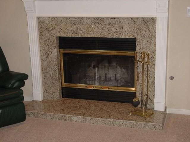 White fireplace surround and Fireplace mantle