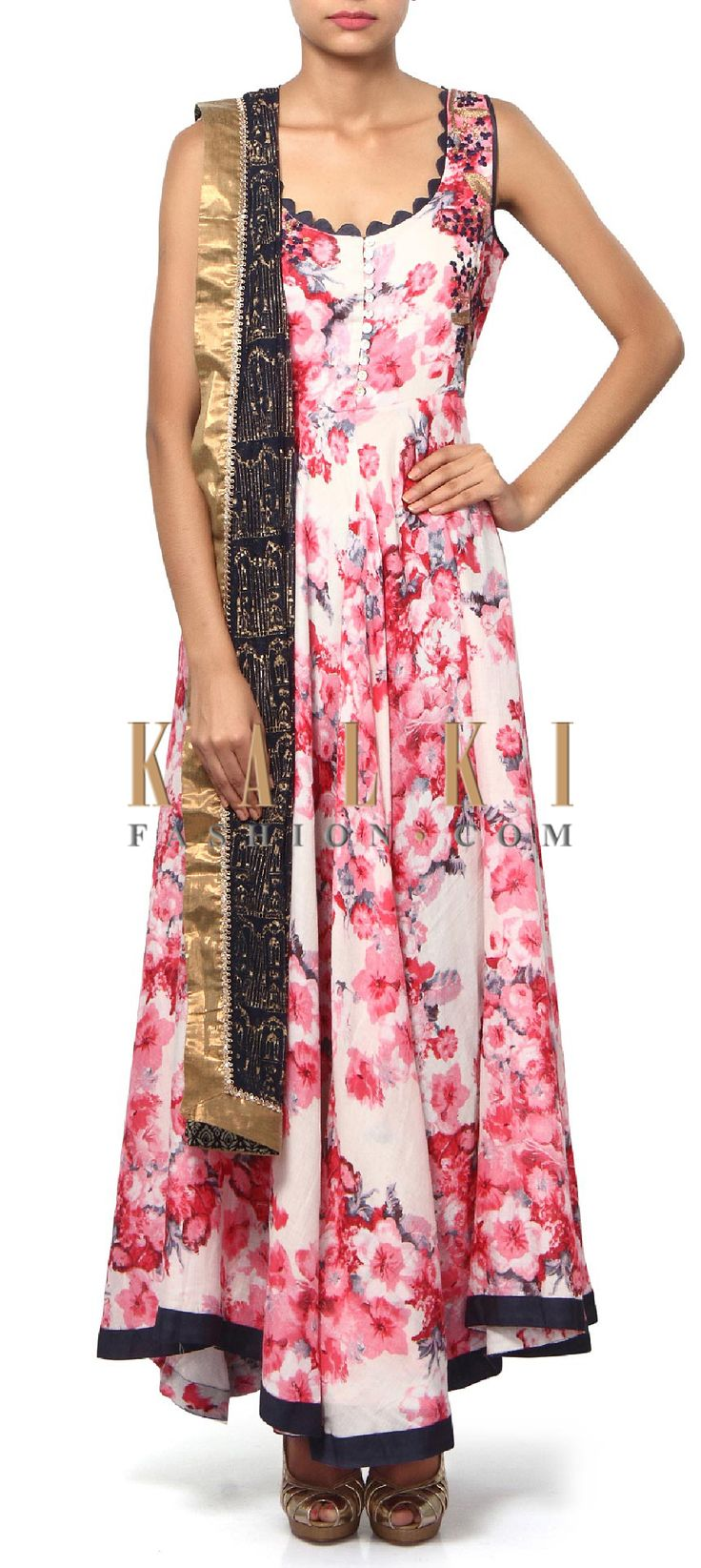 Buy Online from the link below. We ship worldwide (Free Shipping over US$100). Product SKU - 311305.Product Link - http://www.kalkifashion.com/featuring-white-and-black-anarkali-suit-in-floral-print-only-on-kalki.html