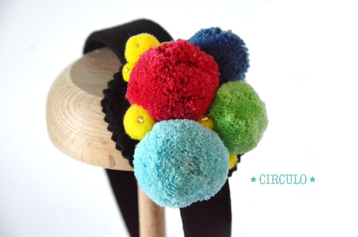 Ηandmade headband with colourful pom poms & small glass beads !!  {https://www.facebook.com/circulobebe}