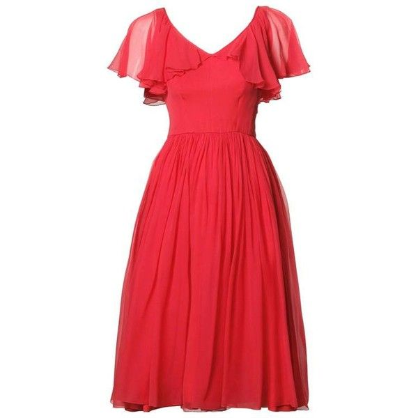 Preowned 1960s Vintage Coral Silk Chiffon Cocktail Dress With Full... (1.410 BRL) ❤ liked on Polyvore featuring dresses, vintage, cocktail dresses, red, pre owned dresses, preowned dresses, sleeve cocktail dress, red dress and petite dresses