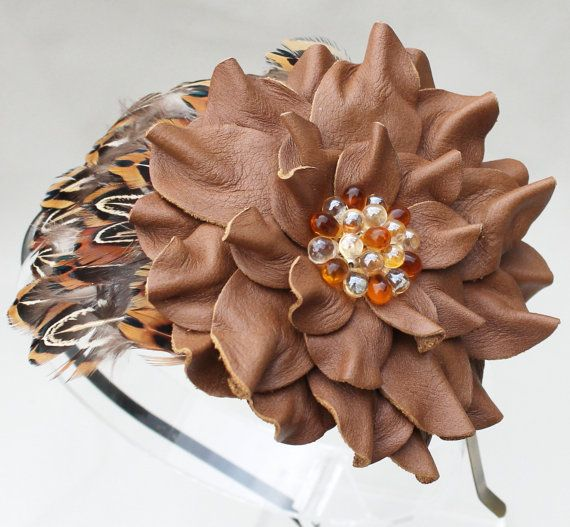 Hey, I found this really awesome Etsy listing at https://www.etsy.com/listing/90882923/brown-feather-fascinator-leather-flower