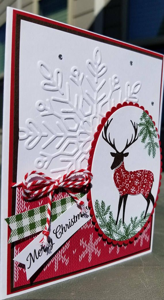 HANDMADE STAMPIN UP! CHRISTMAS CARD KIT WITH MATCHING ENVELOPES YOU WILL RECEIVE 1 COMPLETED CARD AND ARE THE SUPPLIES YOU WILL NEED TO MAKE 3 MORE CARDS. EVERYTHING IS PER-CUT, COLORED & PER-STAMPED, ALL YOU WILL NEED IS YOUR FAVORITE ADHESIVE. WHICH IS NOT INCLUDED IN THE KIT EACH CARD