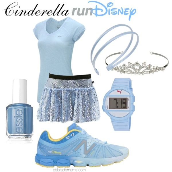 Cinderella runDisney by coloradomom on Polyvore featuring NIKE, Puma, L. Erickson, Essie, New Balance, disney, running and RunDisney