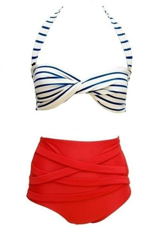 Cute Retro Style Red Blue and White Stripe  Halter High Waisted Vintage 2-in-1 #Fashion #Snap #Swimwear
