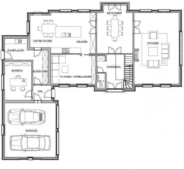 Plan gelijkvloerse verdieping villa landelijke stijl. (deel 1)