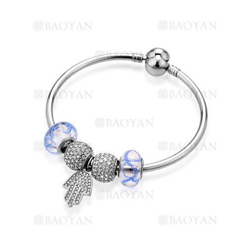 pulsera de abalorios azules con palma en acero para mujer-SSBTG624793