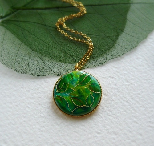 OOAK Autumn jewelry -Green Leaves Gold Necklace - painted by hand