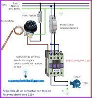 Esquemas eléctricos: Esquema eléctrico maniobra de un contactor con ten...