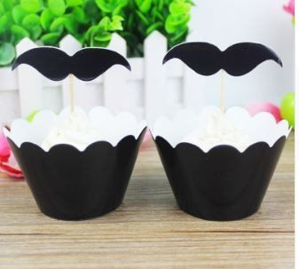 2017 Funny Mustache Pattern Cupcake Decorations For Wedding Party Birthday Party bachelor party 12 pcs Toppers  12 pcs Wrappers