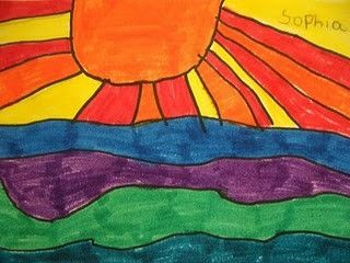 This horizon line/warm/cool color lesson would be great for first grade:) by gertrude
