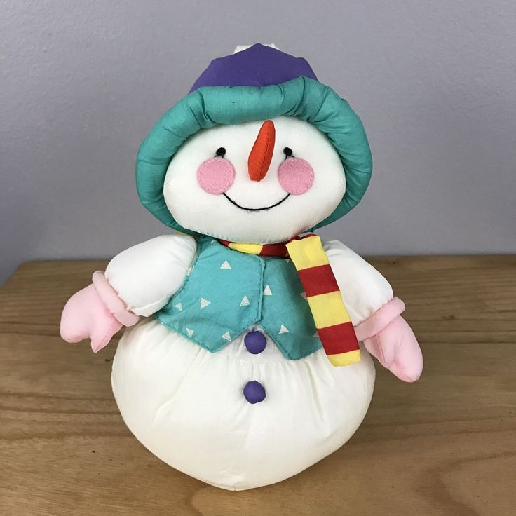 VTG Snowman  Russ Nylon Plush Stuffed Puffalump Style Animal Holiday #Russ