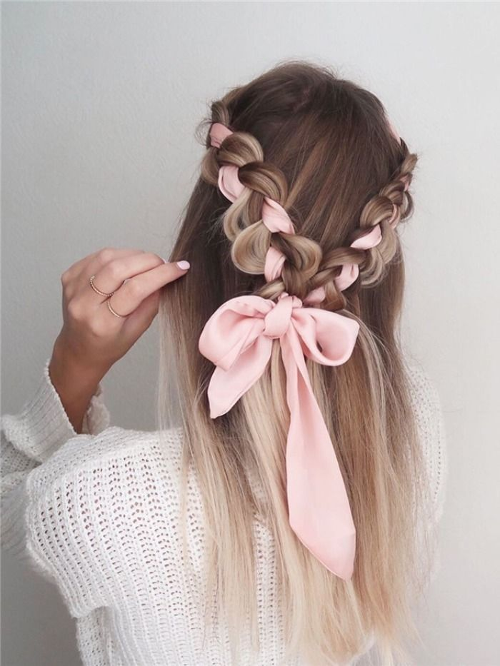 42 Facile Et Jolies Idees Coiffures De Bal Pour Les Cheveux Longs En 2020 Ribbon Hairstyle Thick Hair Styles Easy Hairstyles For Long Hair